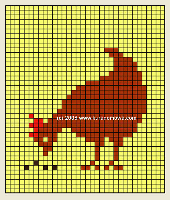 Haft krzyżykowy wzór na kurę