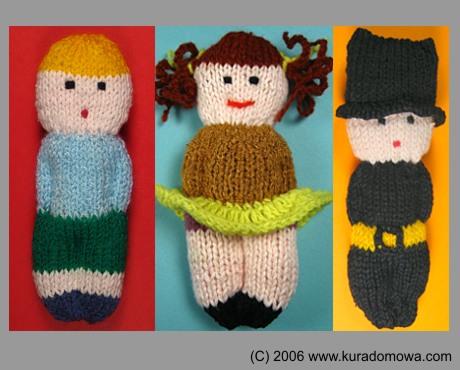 Wzór na lalki na drutach piłkarz, kominiarz, dziewczynka