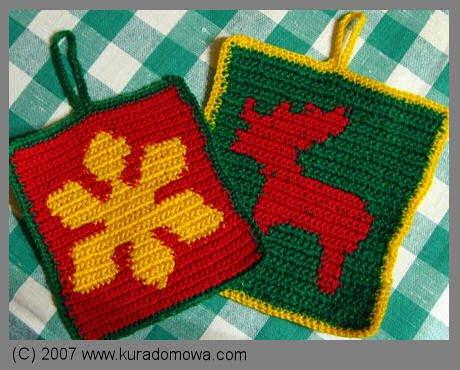 Łapki do garnków wzory na Boże Narodzenie