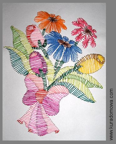 Obrazki wyszywane na papierze