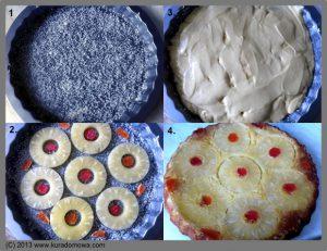 Przepis na odwrócone ciasto z ananasem