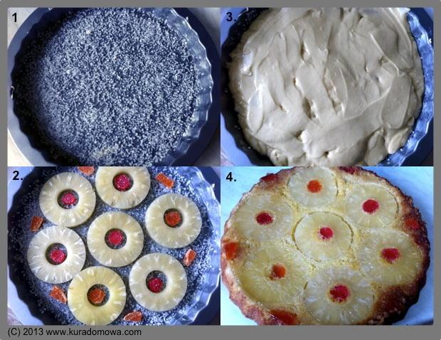Przepis na odwrócone ciasto zananasem