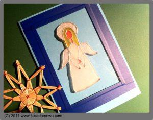 Witrażowa kartka zaniołkiem na Boże Narodzenie