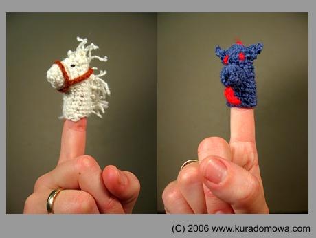 Robótki szydełkowe – wzory na zabawki paluszkowe konik ismok
