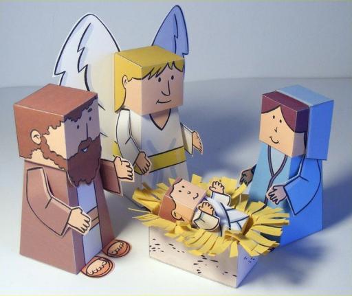 Papierowa szopka na Boże Narodzenie